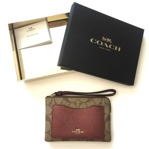 [COACH] AUTHENTIC WALLET KHAKI METALLIC CHERRY